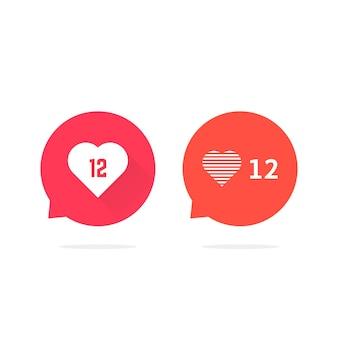 Tekstballonnen met harten als tegenmelding. concept van ui, ok, blogpost, dialoog, gesprek, chat. vlakke stijl trend modern logo grafisch ontwerp vectorillustratie op witte achtergrond