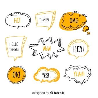 Tekstballonnen met moderne uitdrukkingen