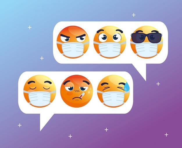 Tekstballonnen met set van emoji huilend met medische maskers, chat sociale media, iconen voor coronavirusuitbraak