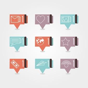 Tekstballonnen met social media iconen