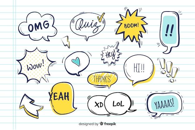 Tekstballonnen met verschillende uitdrukkingen