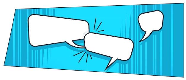 Tekstballonnen of dialoogboxen, wisselende berichten of ideeën. stripboekenstijl en communicatie. pop-art trendy look van gesprekstoepassing. online spreken in tekstvorm. vector in plat