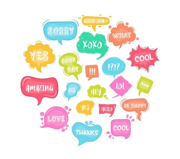 Tekstballonnen schetsen komische tekstballonnen set. illustratie van chat-woord bubbels, hand getrokken wolk, banner in komische stijl geïsoleerd op de achtergrond. abstract begrip grafisch element van chat-tekst