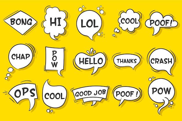 Tekstballonnen schetsen komische tekstballonnen set. van chat woord bubbels, hand getrokken wolk, banner in komische stijl geïsoleerd op de achtergrond.