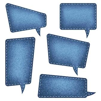 Tekstballonnen set denim textuur blauwe jean ambachtelijke stok