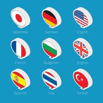Tekstballonnen, talenpictogrammen met vlaggen van landen.