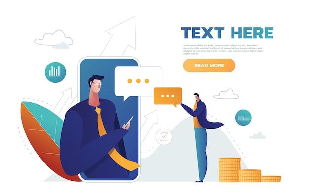 Tekstballonnen voor commentaar anf antwoord concept platte vectorillustratie van jongeren met behulp van mobiele smartphone voor sms'en in sociale netwerken