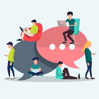 Tekstballonnen voor commentaar en antwoordconcept