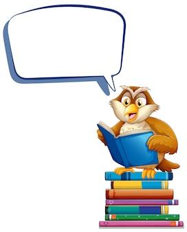 Tekstballonsjabloon met uil die boeken leest