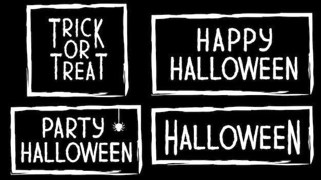 Tekstbanner met de inscriptie voor de vakantie. gelukkig halloween-feest. snoep of je leven. patroon met een textuur in een eenvoudig grungeframe met een spinnenweb. vectorillustratie in zwart-wit.