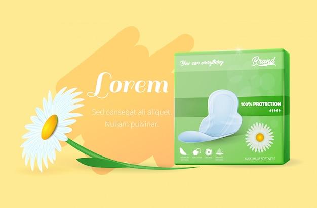 Tekstbanner met groene pads pack en daisy flower