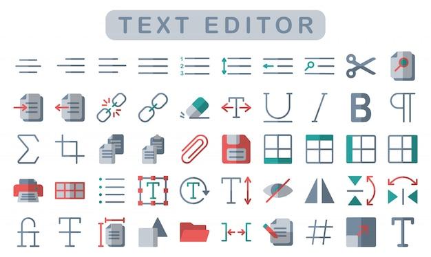Teksteditor iconen set, vlakke stijl