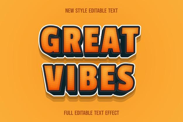 Teksteffect 3d geweldige vibes kleur oranje en zwart