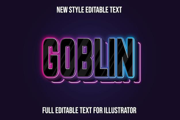 Teksteffect 3d goblin kleur zwart en roze, blauw verloop