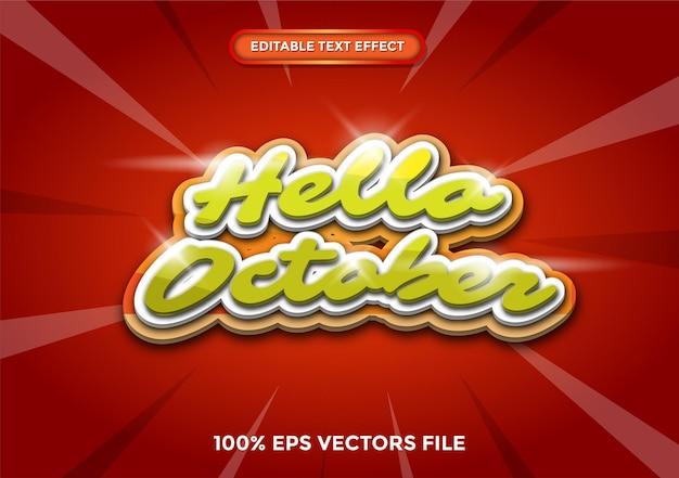 Teksteffect 3d hallo oktober concept premium vector