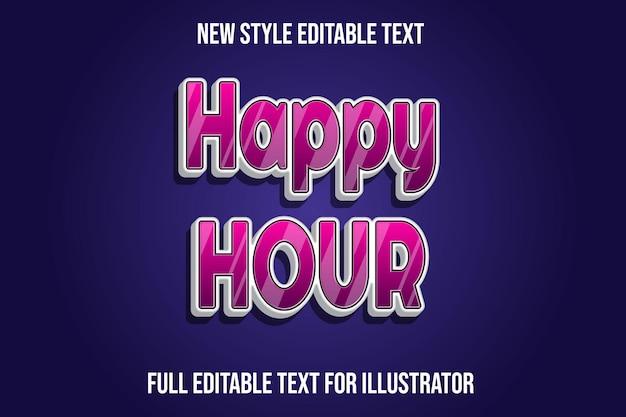 Teksteffect 3d happy hour kleur roze en wit verloop