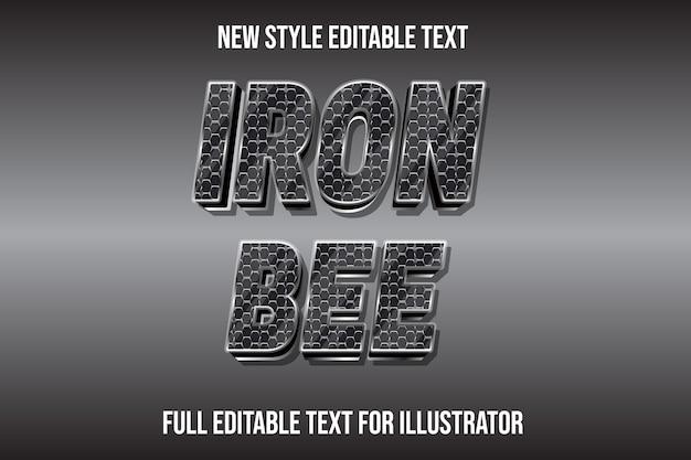 Teksteffect 3d ijzeren bijenkleur zilver en zwart verloop