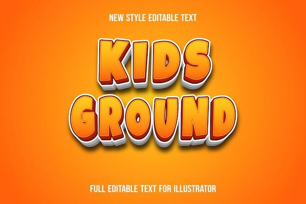 Teksteffect 3d kinderen grondkleur oranje en wit verloop