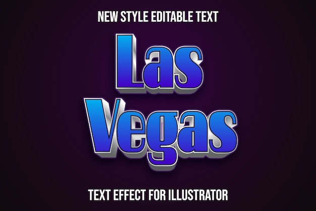 Teksteffect 3d las vegas kleur blauw en zilver verloop