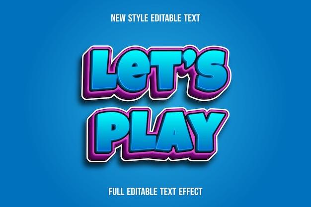 Teksteffect 3d laten we kleur blauw en roze verloop spelen
