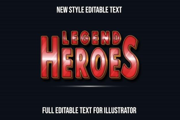 Teksteffect 3d-legendehelden kleuren rood en bruin verloop