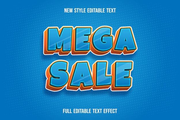 Teksteffect 3d mega-verkoopkleur blauw en oranje