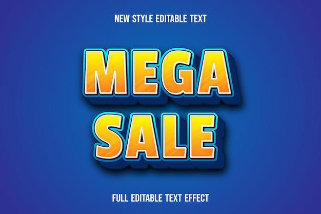 Teksteffect 3d mega-verkoopkleur geel en blauw