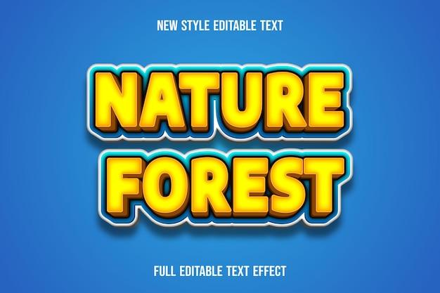 Teksteffect 3d-natuur boskleur geel en blauw