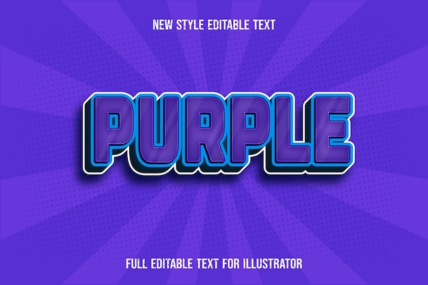 Teksteffect 3d paarse kleur paars en blauw verloop