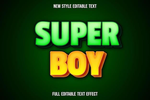Teksteffect 3d-superjongenskleur groen en geel