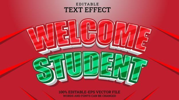 Teksteffect bewerkbare welkomststudent