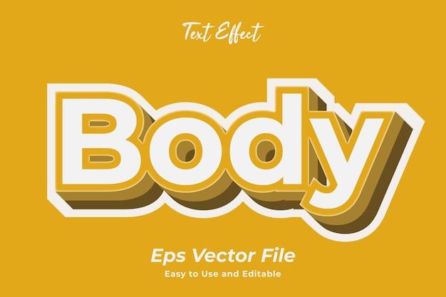 Teksteffect body gebruiksvriendelijk en bewerkbaar premium vector