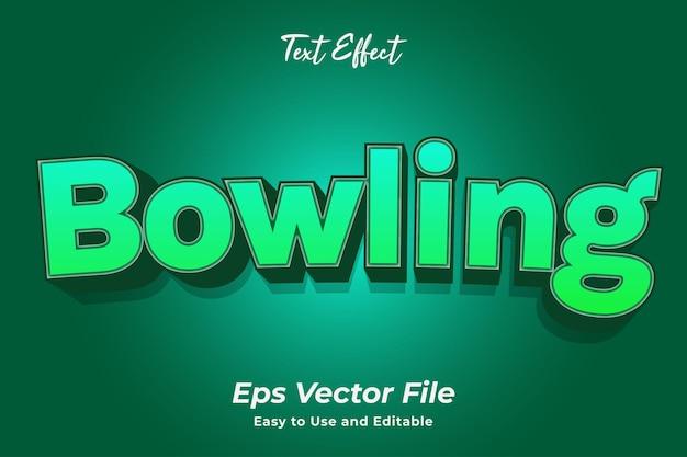 Teksteffect bowling bewerkbaar en gebruiksvriendelijk premium vector