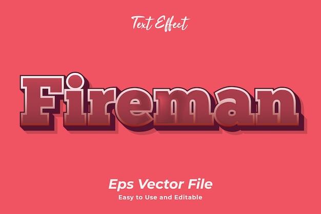 Teksteffect brandweerman bewerkbaar en gebruiksvriendelijk premium vector