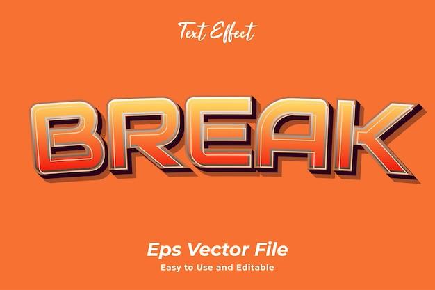 Teksteffect break bewerkbaar en gebruiksvriendelijk premium vector Premium Vector