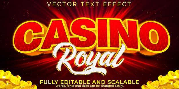 Teksteffect casino slot, bewerkbare winnaar en tekststijl voor gokken