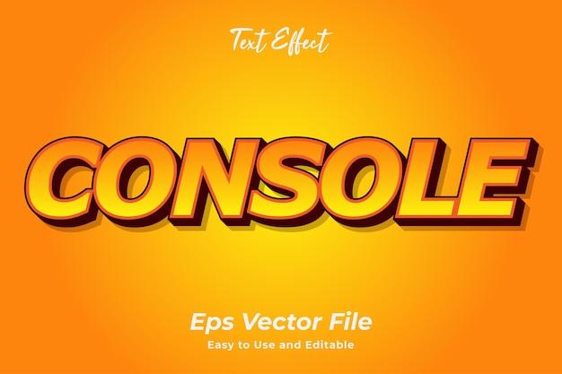 Teksteffect console bewerkbaar en gebruiksvriendelijk premium vector