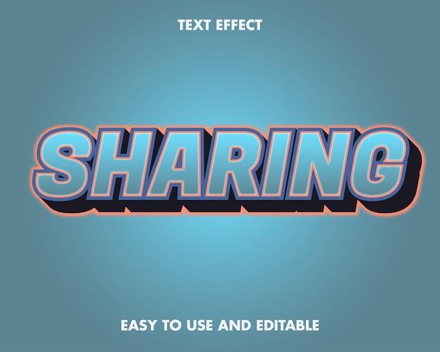 Teksteffect delen. bewerkbare lettertypestijl.