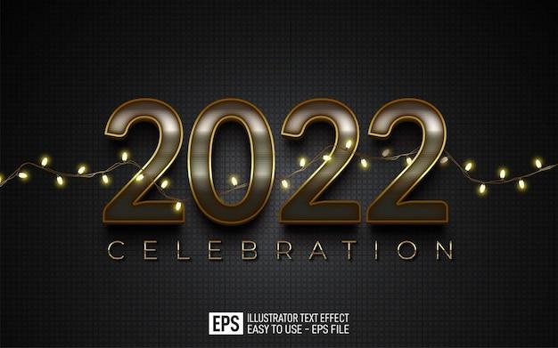 Teksteffect gelukkig nieuwjaar 2022 bewerkbare elegante stijleffectsjabloon