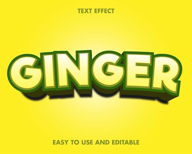 Teksteffect - gember. bewerkbare lettertypestijl.