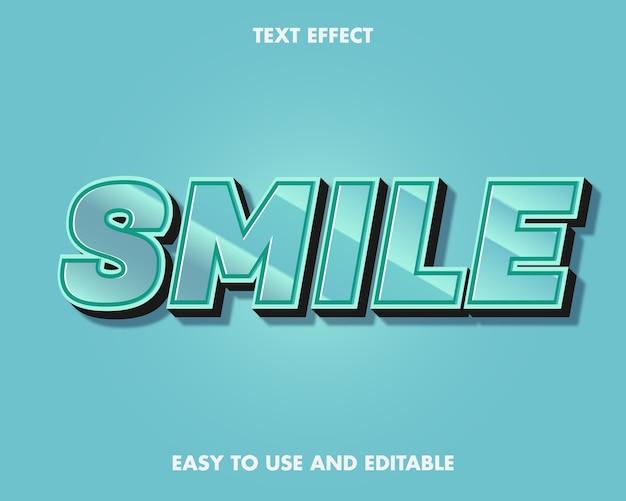 Teksteffect glimlach. bewerkbare lettertypestijl.