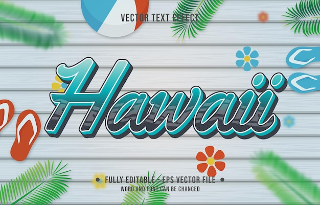 Teksteffect hawaii gradiëntstijl met zomerseizoen thema achtergrond