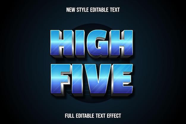 Teksteffect high five kleur blauw en zilver