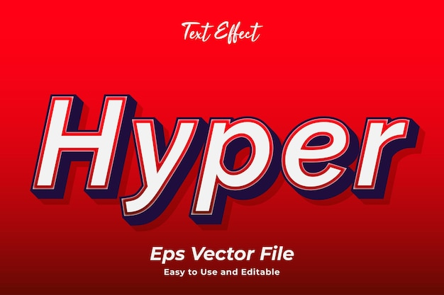 Teksteffect hyper eenvoudig te gebruiken en te bewerken vector van hoge kwaliteit