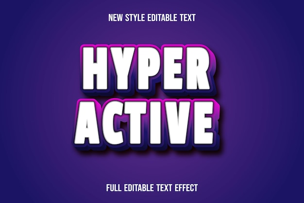 Teksteffect hyperactief op wit en roze paars verloop