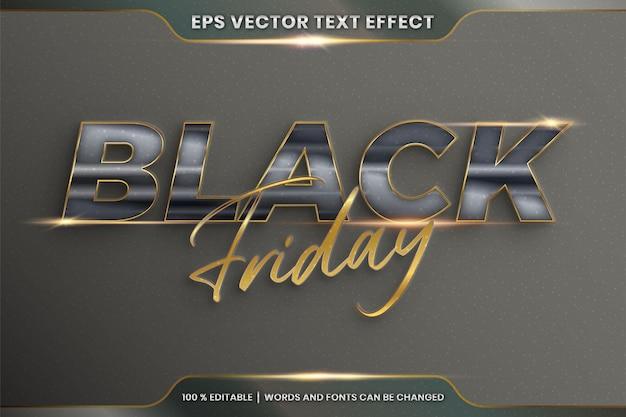 Teksteffect in 3d black friday-woorden, lettertype-stijlthema bewerkbaar realistisch metaalglas en gouden kleurencombinatie met flare light-concept