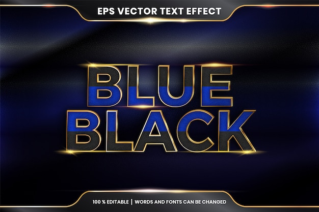 Teksteffect in 3d-blauwe zwarte woorden teksteffect thema bewerkbare metalen gouden kleur concept