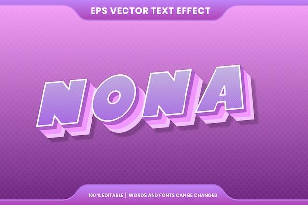 Teksteffect in 3d-kleurrijke nona woorden teksteffect thema bewerkbare retro concept