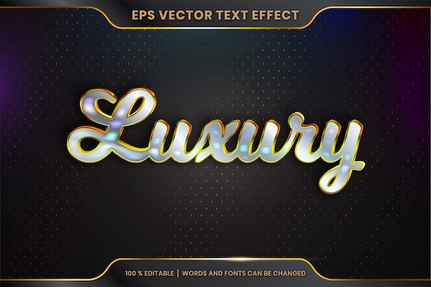 Teksteffect in 3d-luxe woorden lettertype stijlen thema bewerkbare metalen goud zilver kleur concept