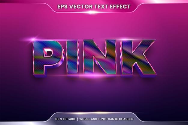 Teksteffect in 3d-roze woorden, lettertype-stijlthema bewerkbare realistische metalen kleurverloop roze kleurencombinatie met flare light-concept